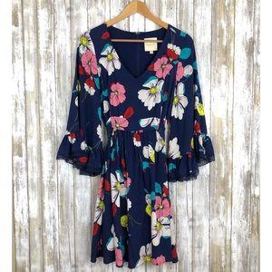 ModCloth Bell Sleeve Floral Print Dress Medium